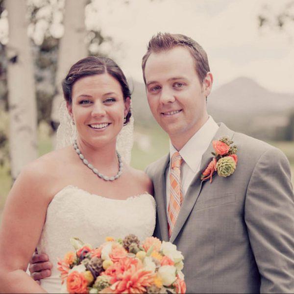 Bride and groom in Aspen wedding 1
